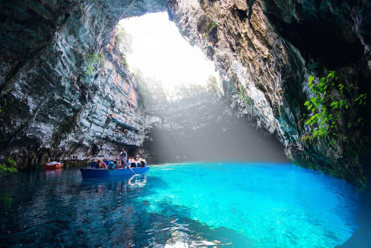 Melissani cave lake gtp for Best places to visit over christmas in the us